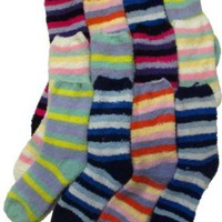 Striped Soft & Fuzzy Socks, Size 9-11, Crew Length 12 pack
