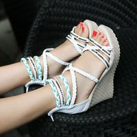 Womens Pumps Cross Strappy Braided High Heels Open Toe Wedge Boho Shoes Sandal