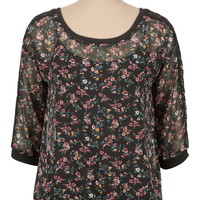 floral print chiffon pullover with lace trim