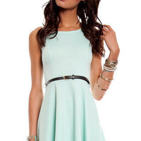 Belt and Flare Dress in Seafoam :: tobi