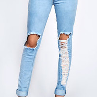 Kelly Light Stone Wash Ripped Leg Skinny Jeans
