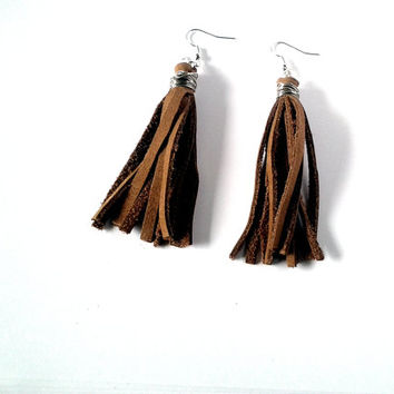 Leather Earrings- Brown Leather- Leather Tassel Earrings- Surgical Steel - Brown Earrings- Fringe Earrings- Dangle Earrings- Fabric Earrings