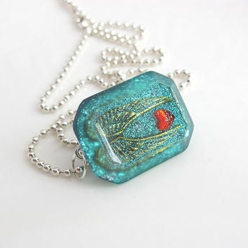 I love Angel Wings Steampunk inspired Polygon Diamond Shaped Resin blue Geometry Pendant Necklace