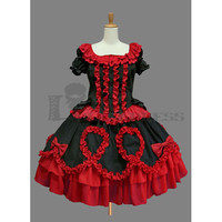 Glamorous Short Sleeves Ruffles Bowknot Cotton Black and Red Gothic Lolita Dress [TQL120504019] - £51.59 : Zentai, Sexy Lingerie, Zentai Suit, Chemise