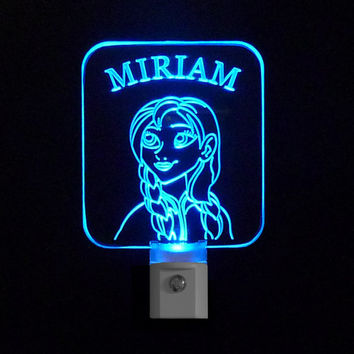 Girls Personalized Frozen Anna Inspired LED Night Light, with Name