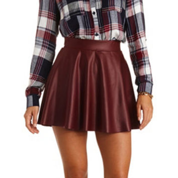 colored faux leather skater skirt by russe