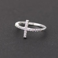 sideways cross ring in silver with swarovski crystals by bythecoco