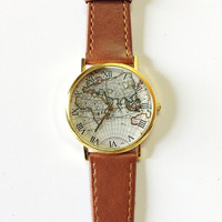 Map Watch, Vintage Style Leather Watch, Women Watches,, Boyfriend Watch, World Map, Tan,
