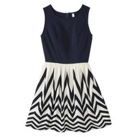 Xhilaration® Junior's Knit to Woven Dress - Navy