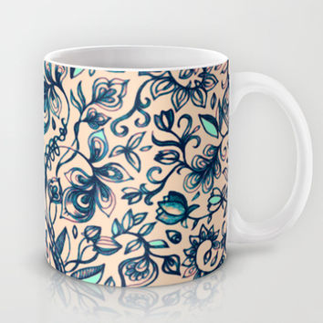 Teal Garden - floral doodle pattern in cream & navy blue Mug by micklyn | Society6