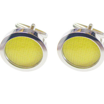 Textured Yellow Colored Classic Cufflinks