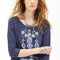 Heathered Tribal-Inspired Top