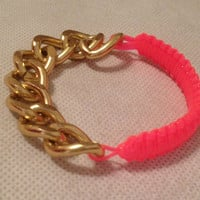 Pink Cobra Bracelet Gold Chain by CatalindaOFFICIAL on Etsy
