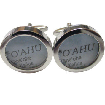 Oahu Hawaii Map Cufflinks