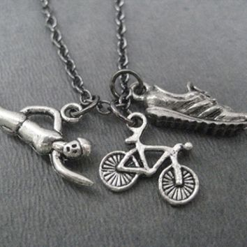 SWIM BIKE RUN Charm Necklace - Swimmer, Bike and Running Shoe Charm priced with Gunmetal Chain