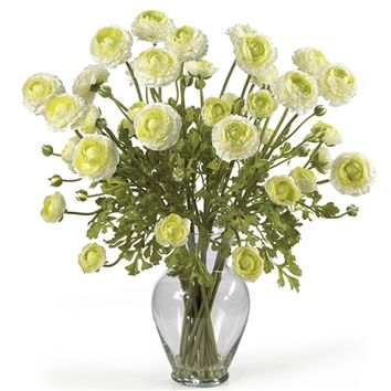 SheilaShrubs.com: Cream Ranunculus Liquid Illusion Silk Flower Arrangement 1087-CR by Nearly Natural : Artificial Flowers & Plants