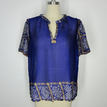 Chiffon Blouse / Hand Made / Vintage Indian Sari / Royal Blue Polka Dot Print / Limited Edition / Size M Medium