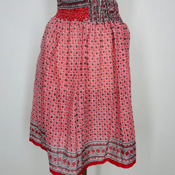 Sari Skirt / Hand Made / Vintage Cotton Indian Sari / Pink Peach Red Floral Print / Limited Edition / Size Large to Extra Large L XL