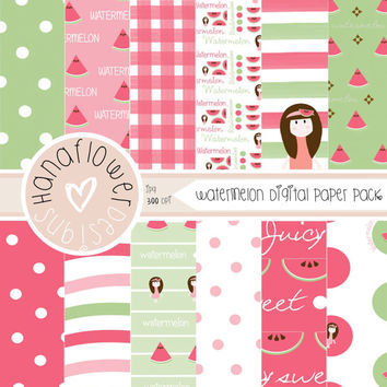 Watermelon Digital Paper Pack - 12 Digital Papers