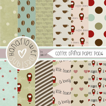 Coffee Shop Digital Paper Pack - 12 Digital Papers