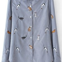Cat Embroidered Button-up Shirt