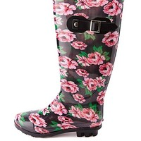 Rubber Floral Print Rain Boots by Charlotte Russe - Black/Pink
