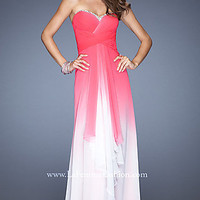 Long Strapless Open Back Ombre Gown