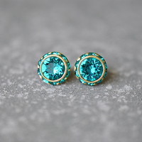 Teal Swarovski Crystal Stud Earrings