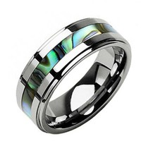 8mm Tungsten Carbide Band Abalone Shell Inlay Step Edge Men's Wedding Ring