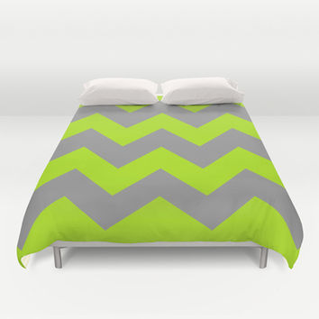 Chevron Lime Duvet Cover by Alice Gosling