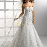 Mermaid Trumpet Sweetheart Beaded Lace Wedding Dress