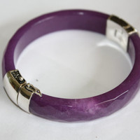 Vintage Sterling Bangle Bracelet Purple Jade 1980s Jewelry