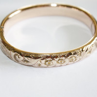 Victorian Embossed Bangle Bracelet 10kt GF 1900s Jewelry