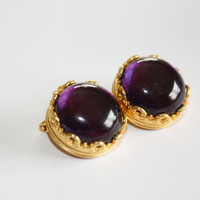 Vintage Purple Amethyst Earrings Cabochon Liz Claiborne Clip On  1980s Jewelry