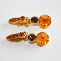 Vintage Orange Earrings Dangle Drop Rhinestone Clip On  1950s Jewelry