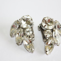 Vintage Weiss Earrings Clear Rhinestone Clip On  1950s Jewelry