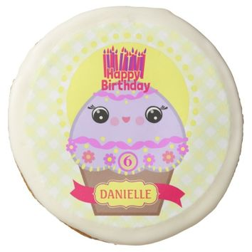 Custom Birthday Kawaii Cupcake Sugar Cookie