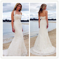 Satin Lace Embroidery Halter Court Mermaid Bridal Gown Wedding Dresses