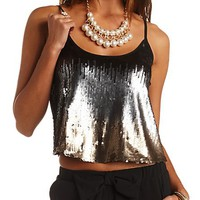 Cropped Ombre Sequin Tank Top by Charlotte Russe - Black Combo