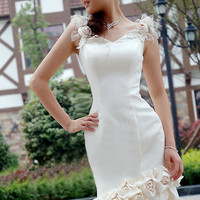 Handmade Flower Applique V Neck Sash Court Mermaid Bridal Gown Wedding Dress