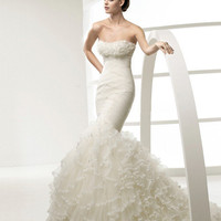 Ruffles Lace Court Mermaid Bridal Gown Wedding Dress