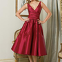 Taffeta V Neck Tea Length Bridesmaid Dresses
