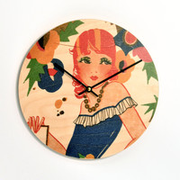 10 inch diameter wall clock. 1920's Art Deco Flapper With Red Curls. Vintage Art Deco Bridge Tally illustration CL3020