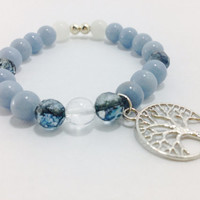 Tree of Life Bracelet, Gemstone Bracelet, Healing Bracelet, Yoga Inspired: Angelite, Snow Quartz and Tourmaline