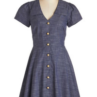 Bea & Dot Mid-length Short Sleeves A-line Floral Field Day Dress in Chambray