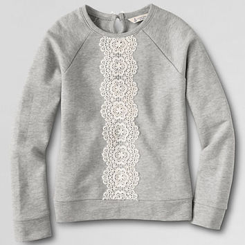 Girls' Long Sleeve French Terry Lace Sweatshirt from Lands' End