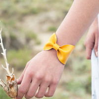 Yellow Bow Cuff Bracelet Mustard Faux Leather Vegan Tie Bowtie Scarf Wide Womens Bridesmaid Bridal