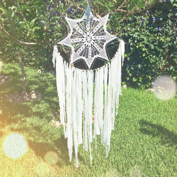 White & Gold Crochet Doily Fabric Dreamcatcher