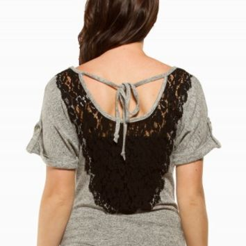 LACE COWL SWEATER
