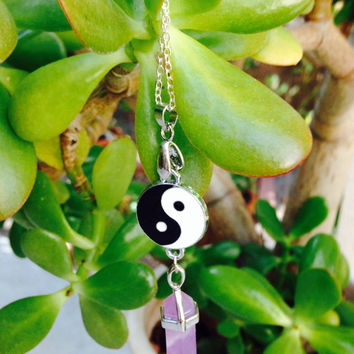 Yin yang faux amethyst stone rock necklace